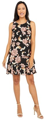 Lauren Ralph Lauren Tyree Sleeveless Day Dress (Black/Pink/Multi) Women's Dress