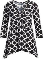 Glam White & Black Quatrefoil Sidetail Tunic