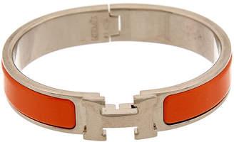 Hermes Palladium-Plated & Orange Enamel Clic-Clac H Bracelet