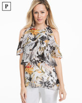 White House Black Market Petite Floral Cold-Shoulder Shell Top