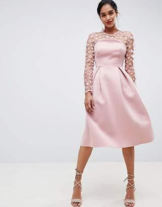 Asos Design DESIGN 3D floral lace bandeau scuba prom midi dress-Pink
