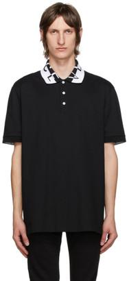 Versace Black Jacquard Logo Polo