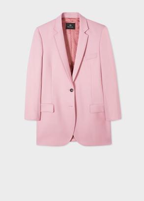 Paul Smith Women's Boyfriend-Fit Light Pink Wool-Hopsack Longline Blazer