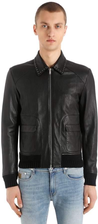 Saint Laurent Leather Jacket W/ Studded Collar