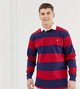 Polo Ralph Lauren Big & Tall long sleeve stripe rugby polo player logo in burgundy/navy