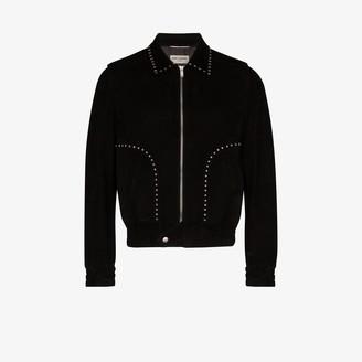 Saint Laurent Embellished Leather Bomber Jacket