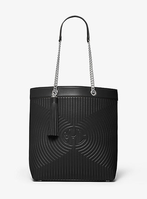 Michael Kors Monogramme Quilted Leather Chain Tote Bag - Black