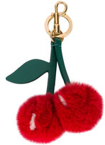 Anya Hindmarch cherry keyring - women - Leather/Mink Fur/metal - One Size