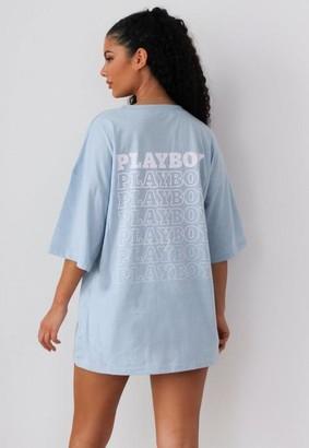Missguided x Blue Repeat Logo Pocket T Shirt