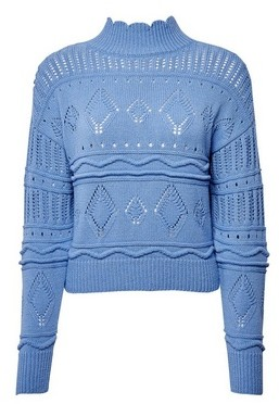Dorothy Perkins Womens Lola Skye Blue Pointelle Jumper, Blue