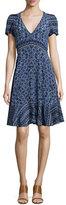 Rebecca Taylor Short-Sleeve Paisley A-Line Dress, Blue Smoke