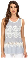 Dylan by True Grit Chambray and White Embroidered Hi-Lo Tank Top w/ Knit Back