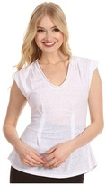 Rebecca Taylor Solid Waisted Sleeveless Top (Alabaster) - Apparel