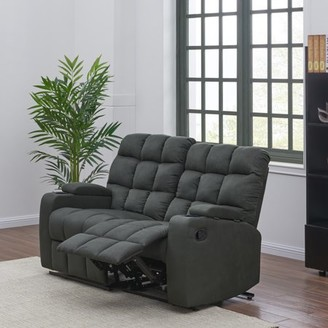 Prolounger ProLounger Wall Hugger Storage Reclining Loveseat in Gray Microfiber