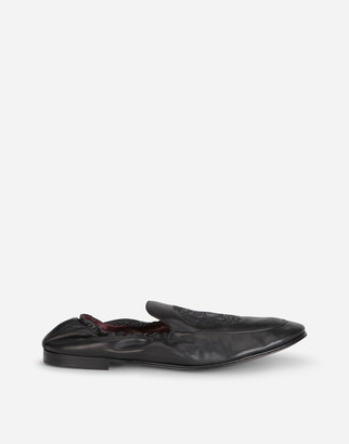 Dolce & Gabbana Calfskin Loafers With Coat Of Arms Embroidery