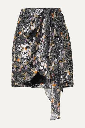 Isabel Marant Ixora Draped Silk And Lurex-blend Jacquard Mini Skirt - Black