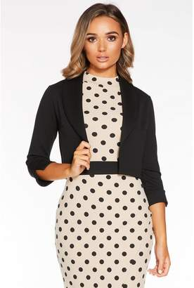 Quiz Black Shawl Collar Crop Jacket