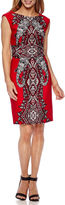 Studio 1 Sleeveless Scroll Print Sheath Dress