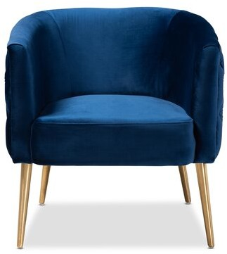 Mercer41 Whiteside Glam and Luxe Velvet Fabric Upholstered Armchair Upholstery Color: Navy Blue