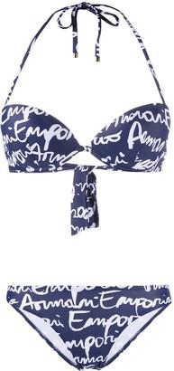 Emporio Armani Hand Written Logo-Print Underwired Bikini