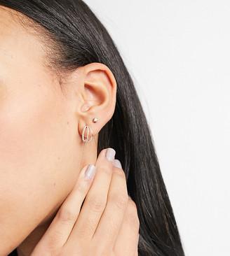 Kingsley Ryan 10mm multi hoop earrings with chain detail in sterling silver