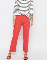 Asos FLORENCE Authentic Straight Leg Jean In Tangerine With Raw Hem