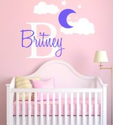 e-Graphic Design Inc Custom Name & Initial Stars Moon Clouds - Baby Girl - Nursery Wall Decal For Baby Room Decorations - Mural Wall Decal Sticker For Home Children's Bedroom (MM110)