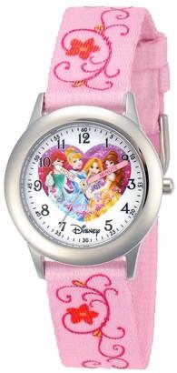 Disney Girl' Diney Prince Ariel, Cinderella, Rapunzel, and Belle tainle teel Time Teacher Watch - Pink