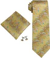 Landisun Paisley Mens Silk Necktie Set: Tie+Hanky+Cufflinks 104 True Red