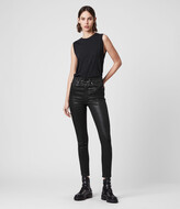 AllSaints Dax Cropped High-Rise Superstretch Skinny Jeans, Coated Black