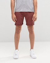 Asos Denim Shorts In Stretch Slim Burgundy