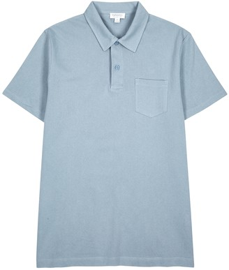 Sunspel Riviera blue knitted cotton polo shirt