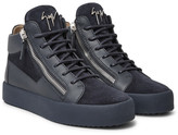 Giuseppe Zanotti Leather And Suede High-top Sneakers - Storm blue
