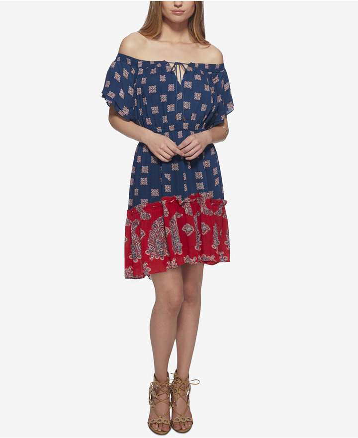 Jessica Simpson Printed Off-The-Shoulder Ruffle Dress