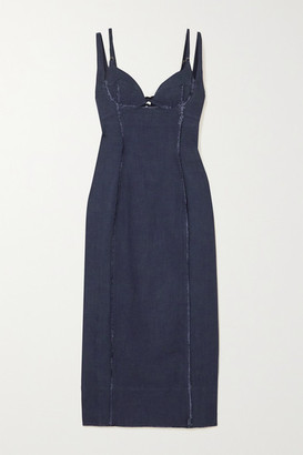 Jacquemus Valerie Cutout Canvas Midi Dress - Navy