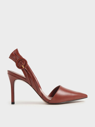 Charles & Keith Buckle Detail Ruched Slingback Pumps