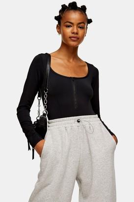 Topshop Womens Black Slinky Long Sleeve Zip Bodysuit - Black