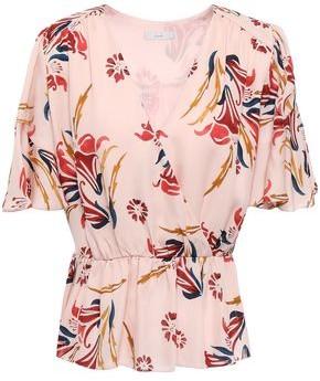 Joie Bisma Wrap-effect Floral-print Silk Crepe De Chine Peplum Blouse
