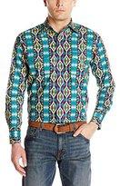 Wrangler Men's Checotah Western Stripe Long Sleeve Teal/Wine Shirt