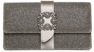 Manolo Blahnik Capri jewel dark gold glitter clutch
