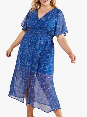 Yumi Curves Ditsy Floral Midi Dress, Blue