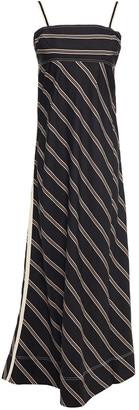 Lee Mathews Madox Open-back Grosgrain-trimmed Striped Woven Maxi Dress