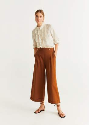 MANGO Cotton culotte trousers mustard - XS - Women