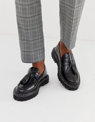 Asos Design DESIGN loafers in black leather with chunky sole and contrast stitch