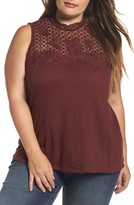 Lucky Brand Plus Size Women's Lace Knit Top