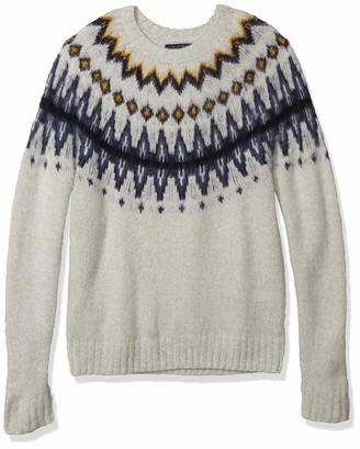 Lucky Brand Men's Crew Neck Brushed Fairisle Pullover Sweater