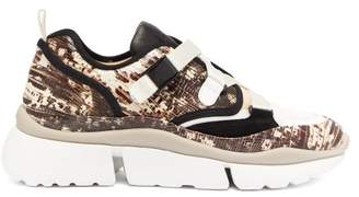 Chloé Sonnie Raised-sole Low-top Trainers - Womens - Pink Multi