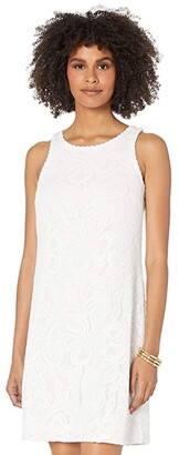 Lilly Pulitzer Marquette Shift Dress (Resort White Wildflower Stripe Lace) Women's Dress