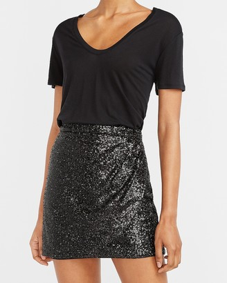 Express High Waisted Sequin Wrap Mini Skirt