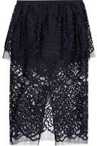 Michelle Mason Layered Chantilly Lace Midi Skirt